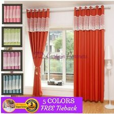 Cotton Blend Solid Pattern Window Curtains