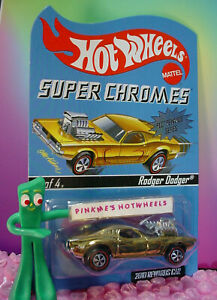 Rare Rlc hot wheels 2010 Récompenses Super Chromes Rodger Dodger #3 Doré Le 2544