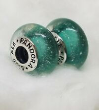 2 pieces Pandora 925 Ale silver murano beads charm Disney Ariel green 791641