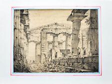 c1830 Paestum Pestum Poseidon-Tempel Lithographie-Ansicht Gail