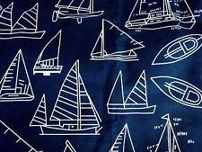 1/2 Yd-NAVY BLUE WHITE NAUTICAL SAILBOATS Print COTTON Medium->Heavy Wt Fabric.