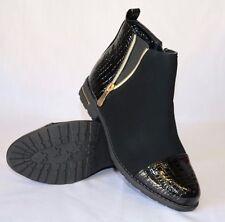 LADIES NEW BLACK SUEDE CHELSEA ANKLE BOOTS CROC DETAIL LOW FLAT HEEL, SIDE ZIP