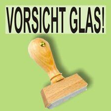 VORSICHT GLAS - Holzstempel 10 x 35mm Büro Stempel