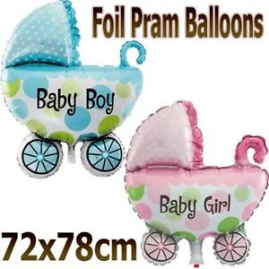 Baby Shower New Baby Girl Baby Boy Balloon Pram Christening Foil Party 72x78cm