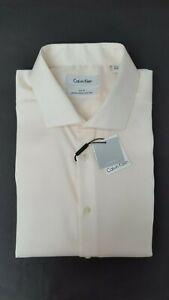 Calvin Klein Steel Men's Slim-Fit Solid French Cuff Shirt, Off White, 17.5 34-35