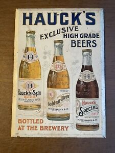 Antique Hauck's Beer Brewery Ad Sign Paint Lithograph on Metal Harrison NJ