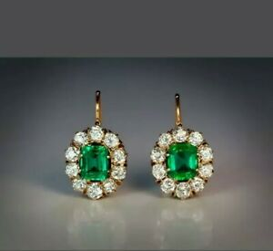 4Ctw Green Emerald & Diamond 14K Yellow Gold Over Vintage Cluster Drop Earrings