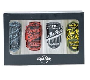 Super ScarceRare 2020 US Hard Rock Cafe Mottos 4 Shot Glass Pack Cordial Set NEW