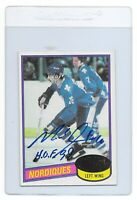 MICHEL GOULET Signed 1980 TOPPS Quebec NORDIQUES Rookie NHL Hockey Card #67 HOF