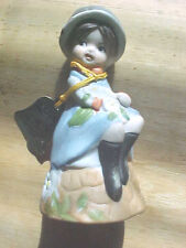 "True Vintage 1978 Jasco ""Love Me"" Bisque Porcelain Bell Sitting Girl With Cat"