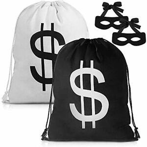 Mepase 2 Sets Robber Costume Set Include Dollar Sign Money Bags Canvas Bag Black