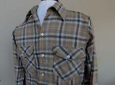 Woolrich Plaid Wool Shirt Mens Medium M Vtg Lumberjack Gray Tan USA Midweight