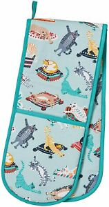 Kitty Cats Green Double Oven Gloves Mitts Pot Holders 100% Cotton Cat Design