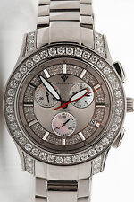 Estate $12,000 Aqua Master 8ct Diamond MOP Chronograph Mens Watch