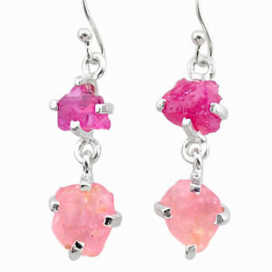 10.43cts Natural Pink Ruby Rough Rose Quartz Rough 925 Silver Earrings T25613