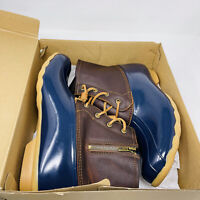 Sperry Womens Saltwater Duck Boots Brown Blue Waterproof Leather Size 12 US