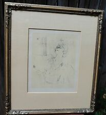 Original Litho by Albert Carman 1898 Of WOMAN with Cert of Authenticity Framed