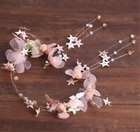 Women Pink butterfly Star Hair headband Tiara Headband Fascinator Earrings Set