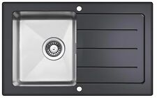 Reversible Black Glass & Steel 1 Bowl Inset Kitchen Sink With Drainer LA012