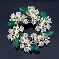 Wreath Vintage Emerald Green Austrian Crystal Rhinestone Brooch Prom Party Wed