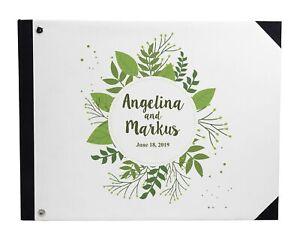 Darling Souvenir White Leaves Printed Hardbound Cover Guestbook-eVJ