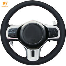 DIY Black Leather Steering Wheel Cover for Mitsubishi Lancer 10 EVO Evolution