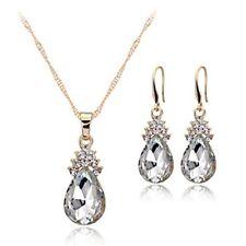 Halskette Ohrringe Diamant Wassertropfen Elegante Damen Schmuck Set Kristall OE