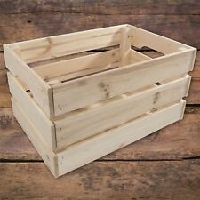 Large Wooden Crate Storage Vegetable Box With Handles Made Of Unpainted Pinewood