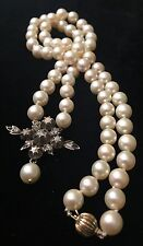 Antique Victorian19c Pearl Necklace With Rose Cut Diamond In 14K Gold & Silver