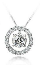 Round Cubic Zirconia Pendant CZ Micro Pave Circle Necklace Gift Party Necklace