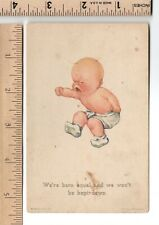 Suffrage Post Card born equal 1922 Crying Baby in Diaper Locke NY