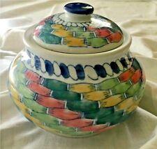 BISCOTTIERA decorata  Contenitore Ceramica Bianco blu verde giallo rosso