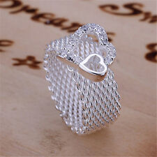 Cute women Rings Jewelry nice new Silver Noble Fashion Wedding Party heart lady