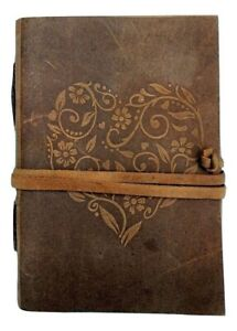 Handmade Leather Journal Diary Notebook Cover 5 X 7 Inches Heart Embossed