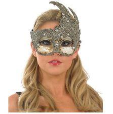 Women Lace Venetian Goddess Masquerade Mask Made of Resin - Silver