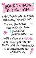 Mum In A Million Inspired Words Keepsake Credit Card & Envelope