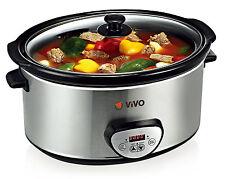 ViVo Sear and Stew Slow Cooker Digital Timer 6.5L Brushed Steel Food Kitchen