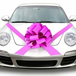 Large Car Bow  18 Inch Car Pull Bow, Shiny Pink Wrapping Bow, Giant Car Ribbon