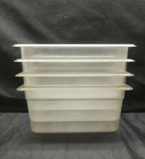 "Lot of 4 Cambro 36Cw135 Camwear 1/3 Size Clear Polycarbonate Food Pan - 6"" Deep"