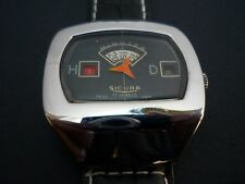 VINTAGE SICURA  JUMP HOUR  WATCH  TV DIAL  IN STUNNING CONDITION