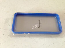 iPhone 5 Solid BLUE Bumper Case w/ Metal Buttons TPU w/ Rubber Apple OEM Style