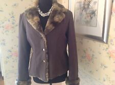 KALIKO Mink-Brown Jacket with faux Fur Lapel Collar (Lined) Size 14 RRP £175 New