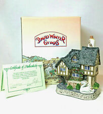 David Winter Cottages Swan Upping Cottage W/ Swan 1992 Guild Piece #14 Coa Box