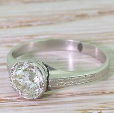 Art Deco 1.69ct Diamante Corte Europeo Antiguo Anillo De Compromiso-Platinum-C 1920