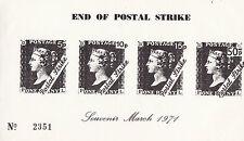 1971 STRIKE MAIL PL MAIL ALL 4 VALUES END OF STRIKE SOUVENIR SHEET OF 4 BLACK