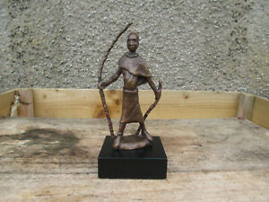 Beautiful Bronze African Warrior  Signed AF To The Base