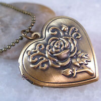 Cameo Rose Flower Heart Love Retro Brass Tone Picture Locket  Pendant Necklace
