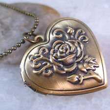 Rose Flower Heart Love Brass Tone Picture Locket  Pendant Necklace 16 inches
