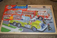 Shure Emergency Vehicles 4 Wooden Puzzles  in a Wooden Box