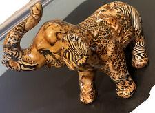 Elephant Figurine Safari Print Lion Tiger Leopard Giraffe Trunk Up Symbolism